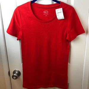 NWT J Crew Red Short Sleeve Perfect Fit T- Shirt.M
